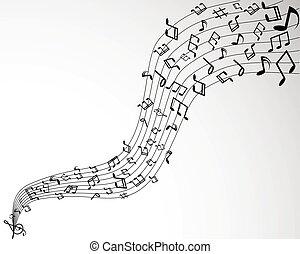 solido, note, sfondo nero, musica, bianco