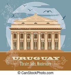 solis, uruguay, immagine, landmarks., teatro, retro, disegnato, montevideo.