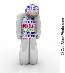 solitario, depresso, solitudine, persona, triste