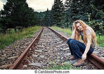 solitario, suicida, pista, donna triste, ferrovia