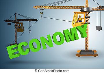 sollevamento, gru, economia, parola