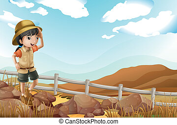solo, camminare, esploratore, femmina, giovane
