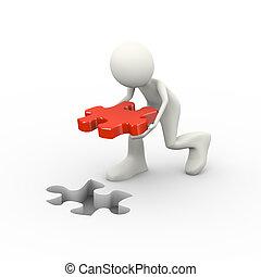 soluzione, puzzle, 3d, uomo, collocazione