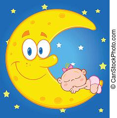 sonni, sopra, cielo, luna, ragazza bambino