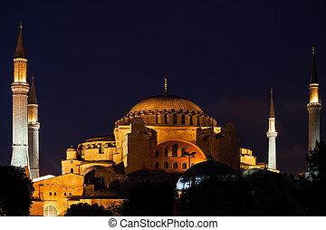 sophia hagia, istanbul, notte