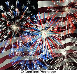 sopra, 2, fireworks, bandiera, ci