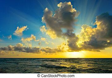 sopra, atlantico, alba, oceano
