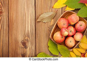 sopra, autunno, legno, mele, fondo, foglie