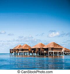 sopra, bungalow, acqua, strabiliante, passi, laguna, verde