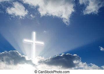 sopra, croce, cielo, cristiano, soleggiato, bello