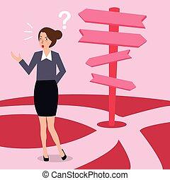 sopra, direzione, concetto, decisione affari, confuso, scelta, donna, freccia, fabbricazione, futuro, sentiero, strada
