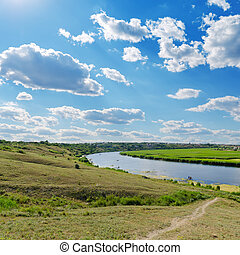sopra, fiume, cielo, nuvoloso