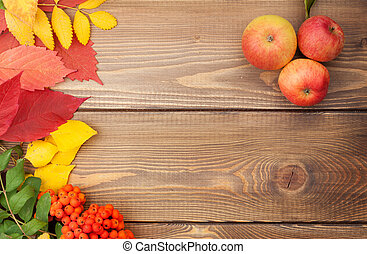 sopra, foglie, autunno, legno, rowan, mele, fondo, bacche