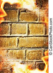 sopra, fuoco, astratto, parete, mattone, cornice