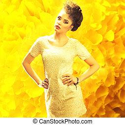sopra, giovane, sfondo giallo, fresco, signora