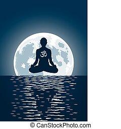 sopra, luna, fondo, vettore, yoga