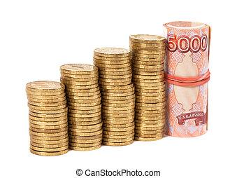 sopra, monete, banconote, rubles, russo, bianco