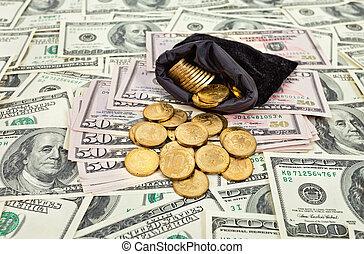 sopra, monete, ci, banconote, borsa, fondo, pieno