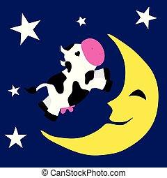 sopra, mucca, luna
