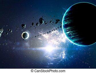 sopra, nebulae, pianeti, spazio