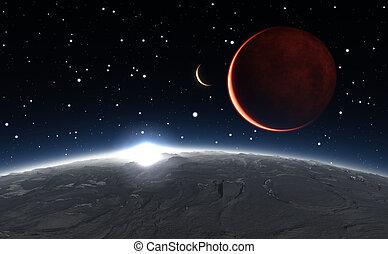 sopra, phobos, pianeta, alba, fondo, marte, rosso