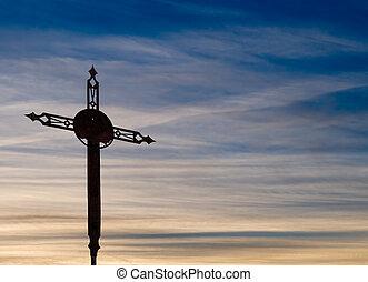 sopra, sera, cristiano, arrugginito, croce, sky., bello