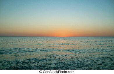 sopra, sera, tramonto, mare