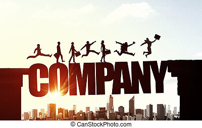 sopra, silhouette, businesspeople, alba