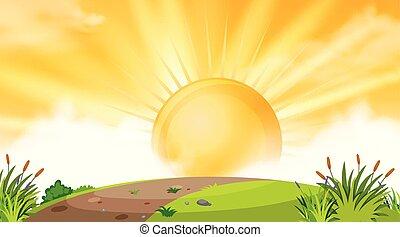 sopra, tramonto, collina, fondo, disegno, paesaggio