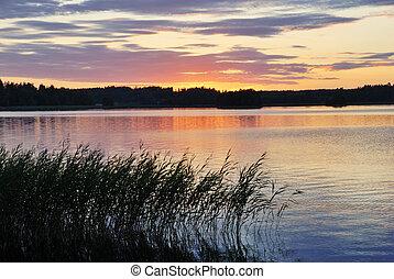 sopra, tramonto, lago, vista