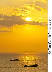 sopra, tramonto, mare