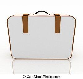 sopra, travel., illustrazione, valigia, bianco, 3d