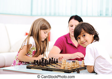sorella, piccolo fratello, loro, scacchi, madre, casa, gioco
