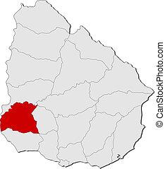 soriano, mappa, evidenziato, uruguay