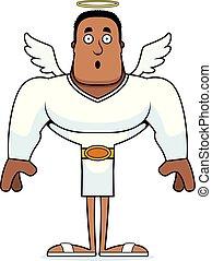 sorpreso, cartone animato, angelo