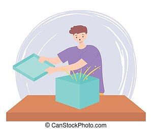 sorpreso, giovane, scatola, regalo, apertura, tavola, uomo