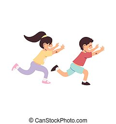 sorridente, bambini, correndo, poco, cartone animato
