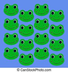 sorridente, bambini, disegno, verde, rane