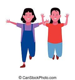 sorridente, bambini, due, cartoni animati