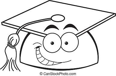sorridente, berretto, cartone animato, graduazione