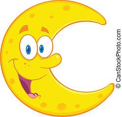 sorridente, carattere, cartone animato, luna