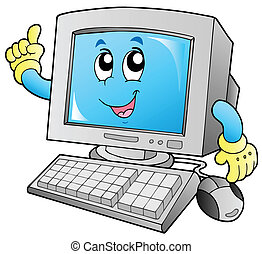sorridente, computer, cartone animato, desktop