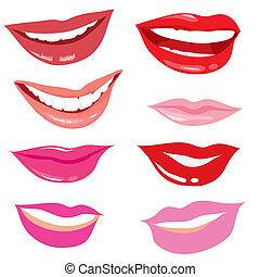 sorridente, labbra