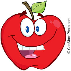 sorridente, mela, rosso
