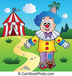sorridente, pagliaccio circo, tenda