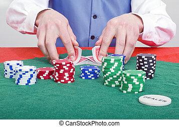 sorridente, poker, commerciante