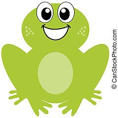 sorridente, rana verde