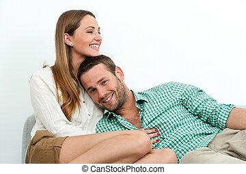 sorridente, rilassante, coppia, couch.