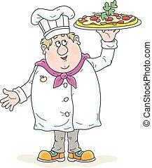 sorridente, saporito, pizza, cuoco