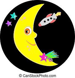 sorridente, stelle, razzo, luna